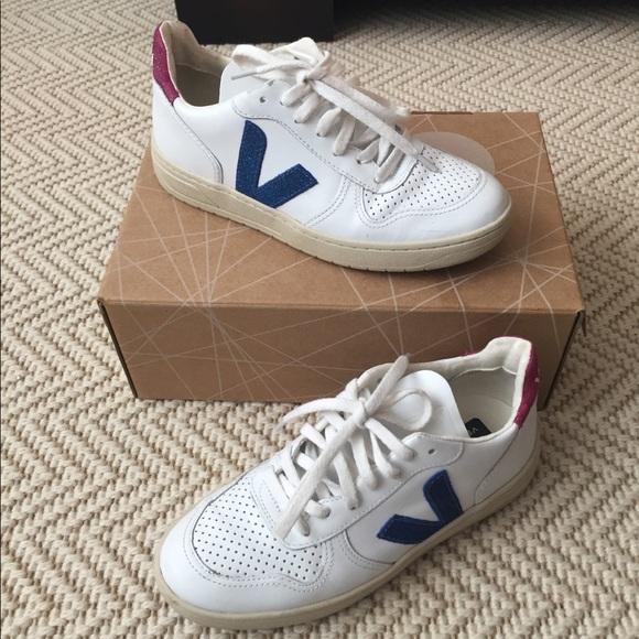 Veja V White Leather Glitter Sneaker Uk